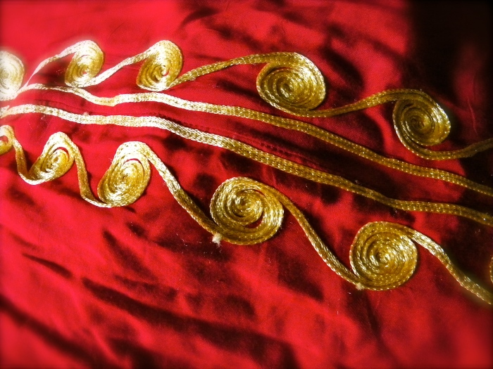 djellaba traditional dress red gold