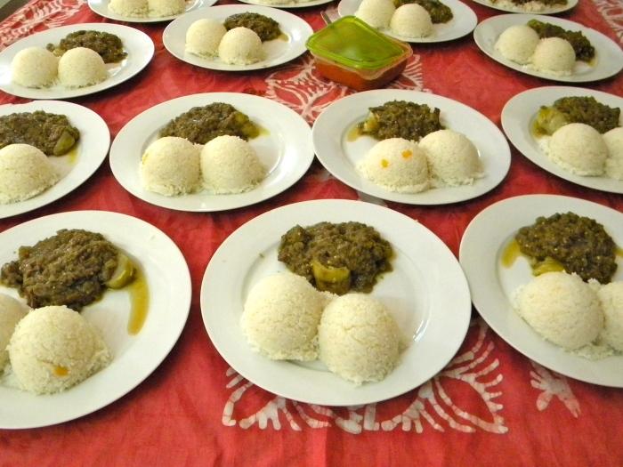 eggplant sauce office lunch rice Mali Bamako