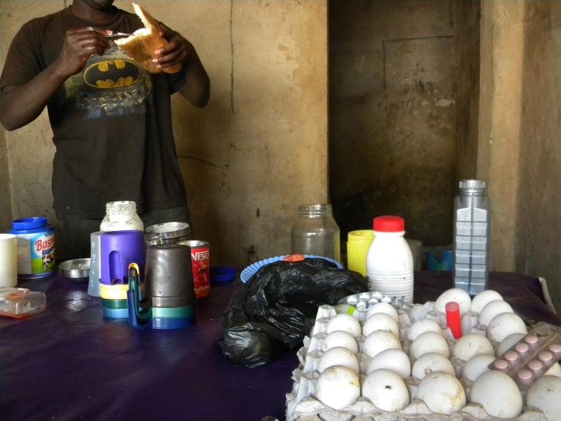Mali Bamako breakfast neighborhood cafe egg sandwich chef