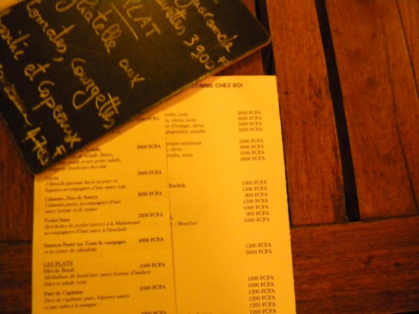 Bamako restaurant dinner menu Mali comme chez soi