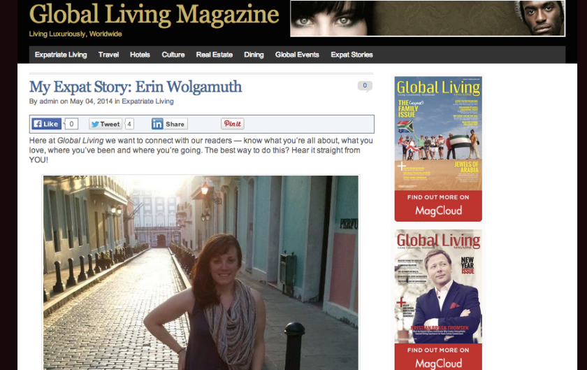 Global Living Magazine cover feature expat