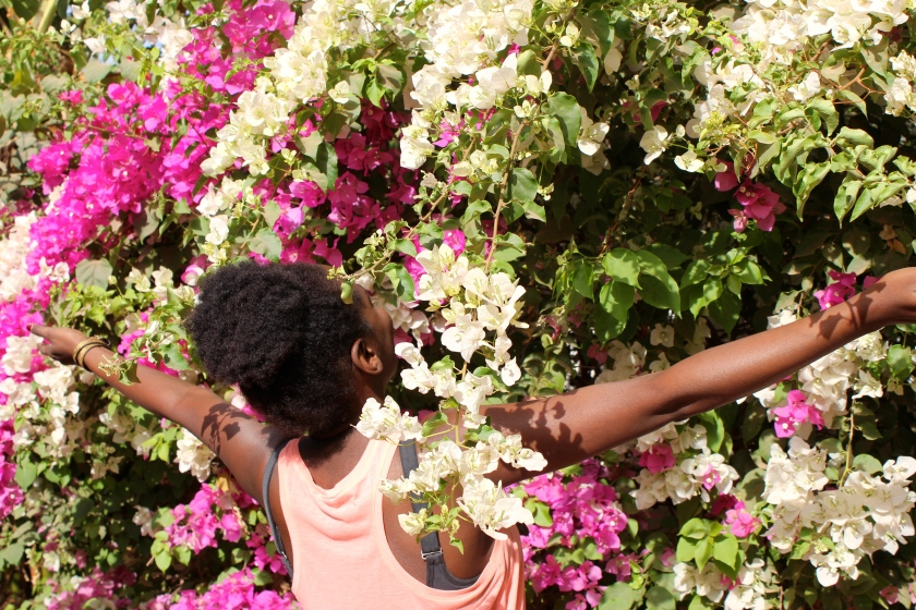 bougainvillea flower woman Mali happiness optimism