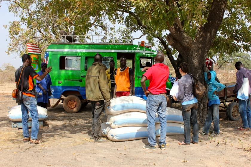 Mali village rural agriculture delivery fertilizer truck sotrama teamwork sacks