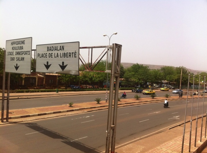 Mali Bamako city freeway Hippodrome street sign traffic