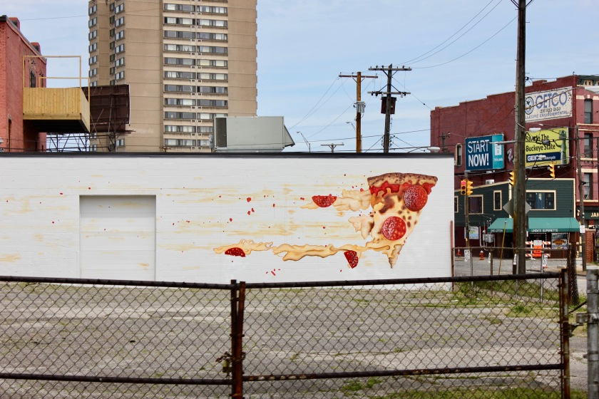 Cleveland Ohio downtown mural pizza