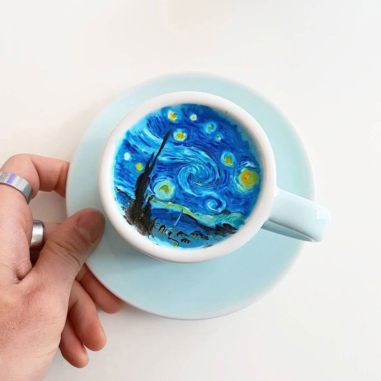 latte art vogue korea starry night van gogh lee kang-bin