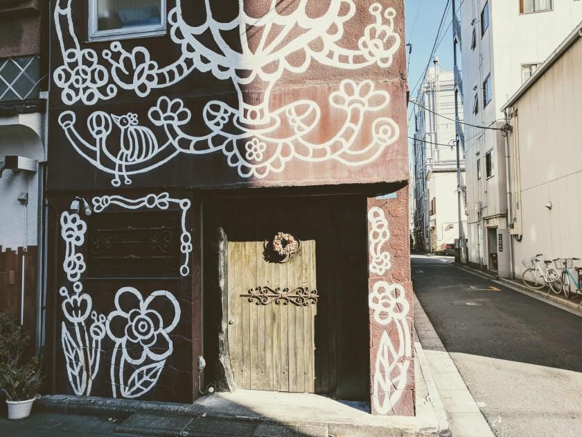 Asakusa Tokyo Japan street corner art graffiti